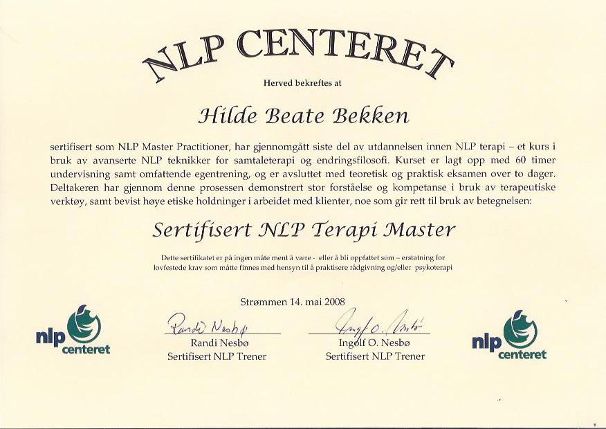 Sertifisert NLP Terapi Master